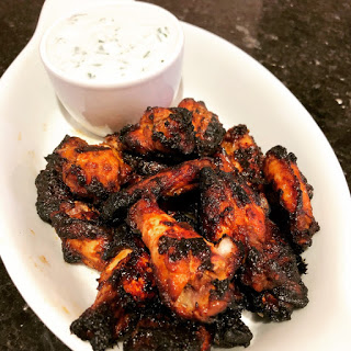 Chilli Chicken Wings with Blue Cheese Dip by Cookin' Elle